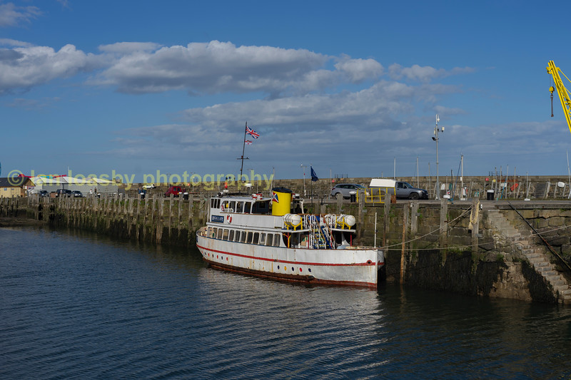 Pleasure cruiser tied up at the quay in Scarborough