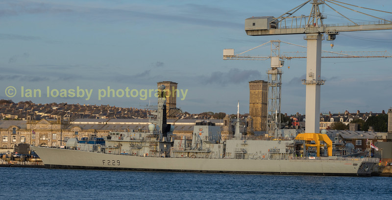 HMS Lancaster a type she is a type 23 frigate, photographed  tied up at devenport off the torpoint ferry