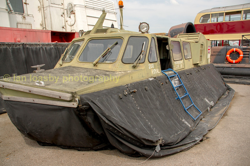 Military hovercraft of the Royal corps of Transport now royal logistics corps. The craft is now withdrawn from service and preserved at the hovercraft museum at Lee -  on - Solent