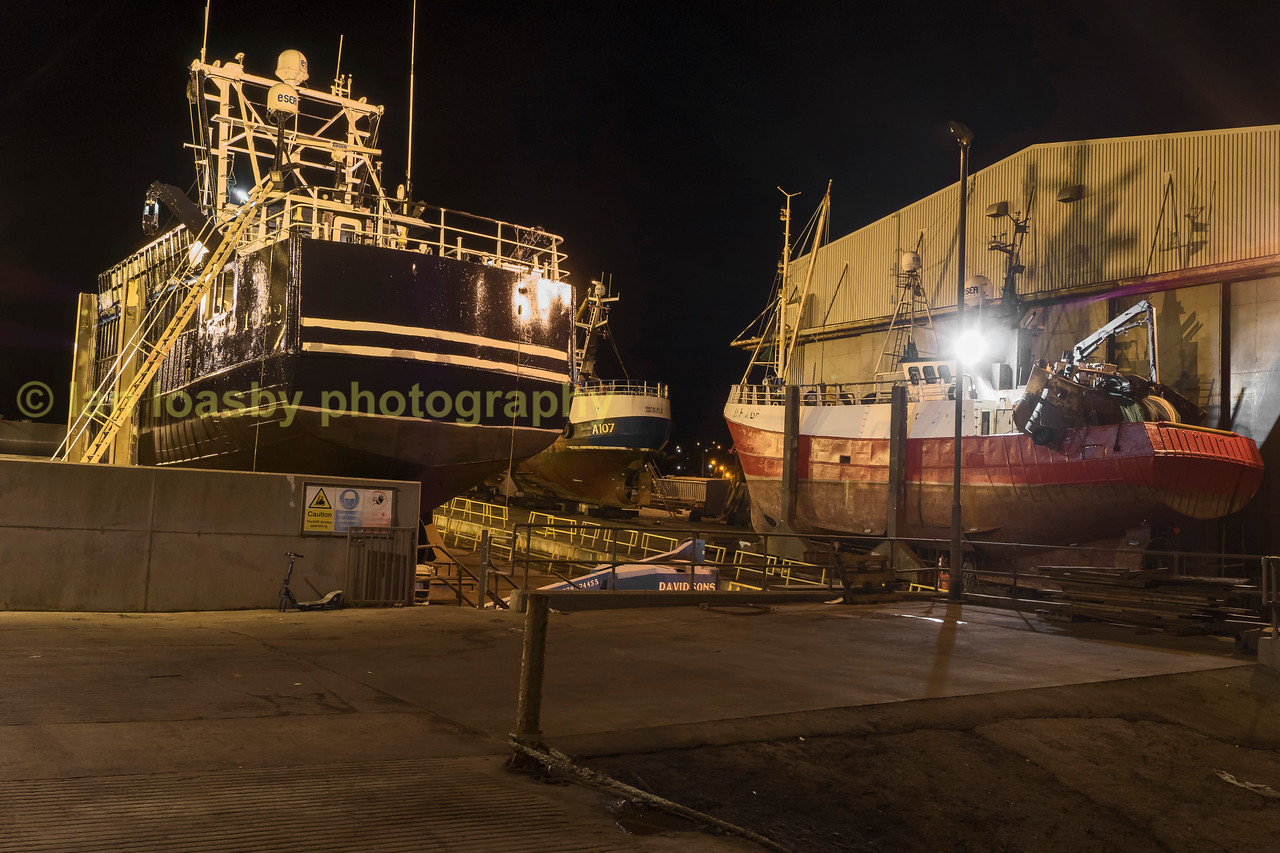 Night time shot of a ship yard at Macduff Aberdeenshire