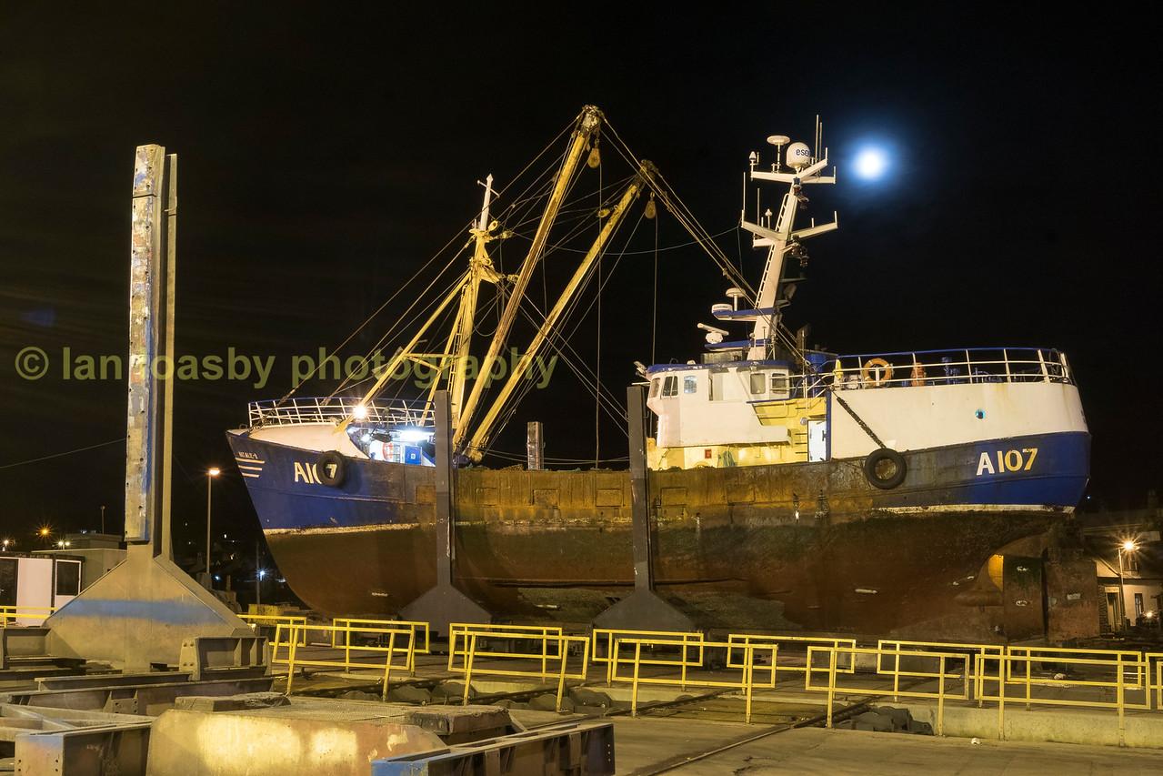 macduff ship yard at night