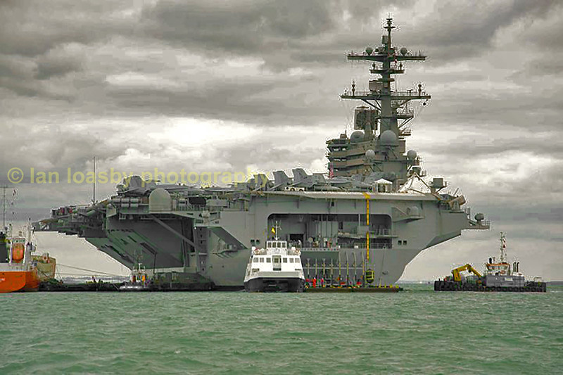 USS George Bush, a 105,000.ton nuclear powered aircraft carrier.