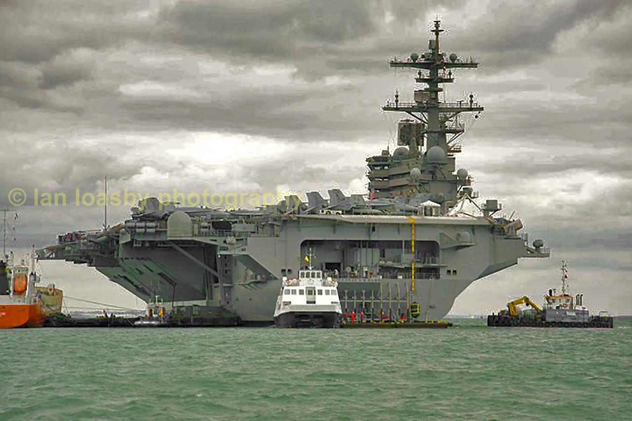 USS George Bush, a 105,000.ton nuclear powered aircraft carrier.