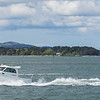 small motor launch at sandbanks Poole harbour