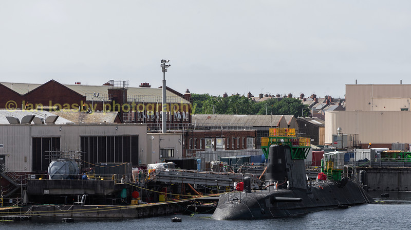A new Astute class nuclear powered submarine , HMS Audacious have the finishing touches to her construction carried out at her builders yard. She was named on the 16-12-16 and launched on 28--04-17 and has a compliment of 98 officers and ratings. She can be armed with Tomahawk cruise missiles and Spearfish torpedoes.  (all info Wikipedia)