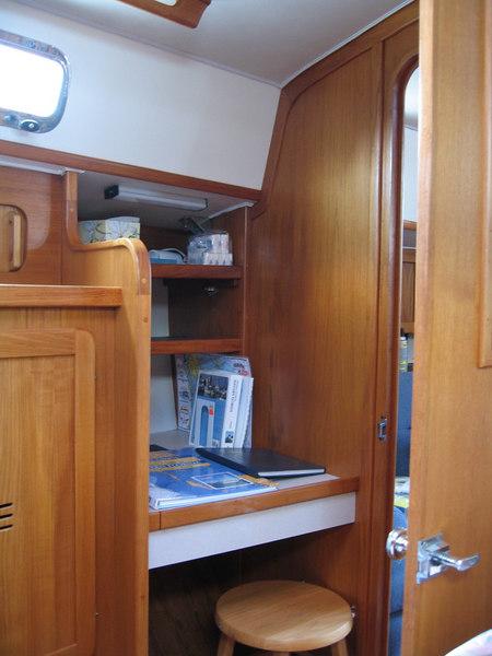 Desk on starboard side in forward stateroom.