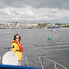 Mary Healy onboard 'Arthur' about to follow Besie and Rapport into Kilrush Creek Marina.