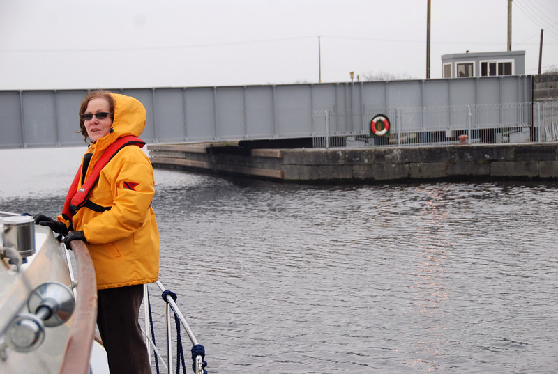 """Circa 11.55, New Year's Day (Thursday), 2009 ... """"Arthur"""" aproaches Portumna Swing Bridge for the purpose of gaining access to Lough Derg. Destination....Garrykennedy."""