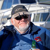 Archie on his first beer with his special three light LED attachment adorning his Skipper's cap!