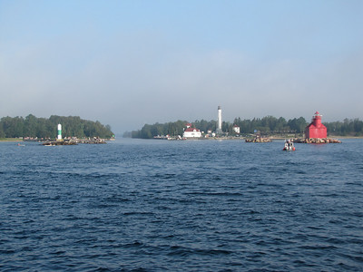 A view of the U.S. Coast Guard Station at Sturgeon Bay, and the canal that now connects Lake Michigan to Green Bay.