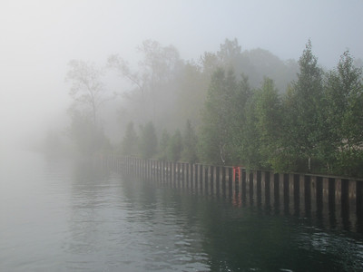 Fog thickened as we passed through the Sturgeon Bay canal on our way out to the mouth of Lake Michigan to meet the tall ships.