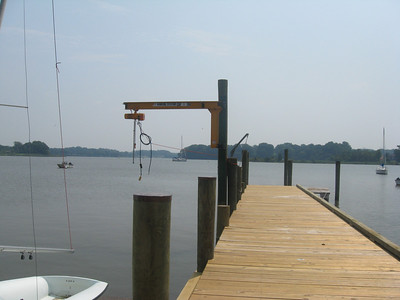 Our dock now sports a boat life for getting larger one-design boats (like Comets) in and out of the water.