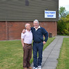 Sean Og and Shay outside Dubarry's factory shop.