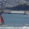 Oracle USA doing a foiling jibe around Mark 1. Emirates New Zealand in pursuit.