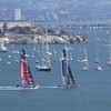 New Zealand and USA in Race 6 with Alcatraz in the background.
