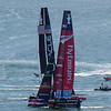 Oracle Team USA and Emirates New Zealand before the start of race 6. Viewed from the Golden Gate Bridge.
