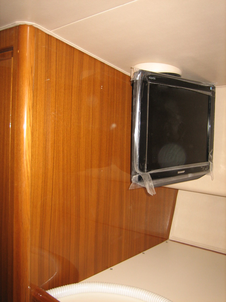 If possible it would be nice to flush mount replacement television in closet wall.<br /> That would require a solution for covering existing TV mount at headliner.