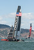 Oracle extends its lead as it tacks in front of the Golden Gate Yacht Club.