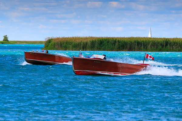 ACBS Boats return after Brunch at the Old Club,, Harsens Island, MI