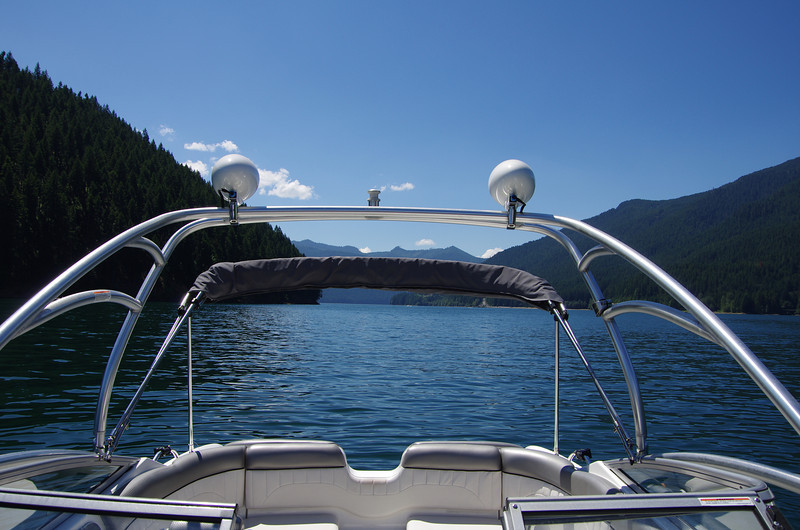 Wet Sounds speakers are mounted on top to allow large bimini to open under.