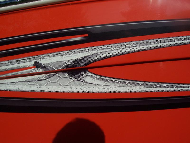 Close-up of external graphics.