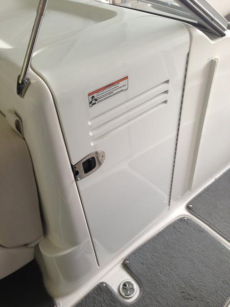 Head compartment and ski locker below.