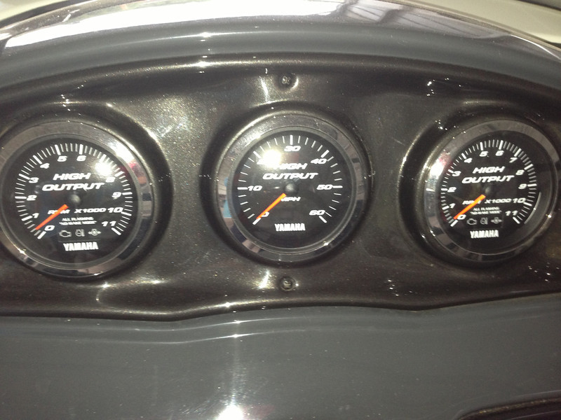 Dials for engine rpms and speed.