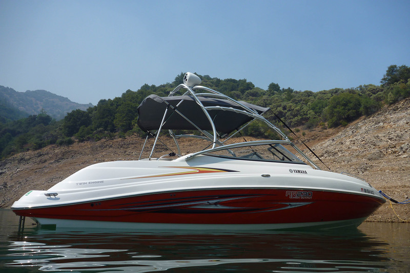 Lake Shasta with bimini up.