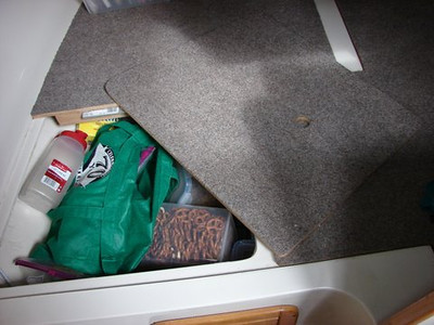 Custom Aft Carpeted Storage Close Up Shot