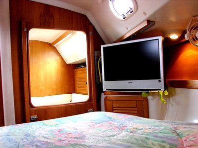 Forward Berth Looking Aft featuring Adjustable mount Flat Screen TV