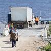 Passengers walking off barge Niska I.