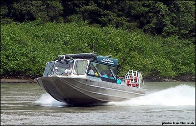 """ON STEP"", Alaska Waters jet boat Chutine Warrior on Stikine river, Alaska, USA.-----""VE SKLUZU"", Alaska Waters tryskovy clun Chutine Warrior na rece Stikine, Aljaska, USA."