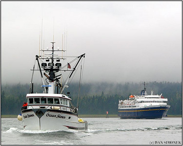 """WRANGELL NARROWS"", F/V Ocean Storm and Alaska State Ferry Taku going to Petersburg, Alaska, USA."