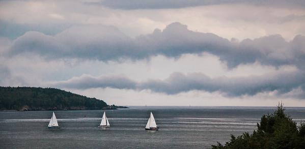 Cloudscape/seascape during Small Point One Design regatta, July 24, 2013