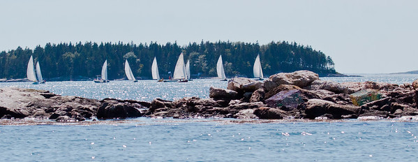 Small Point One Design sail boats in race with Little Wood Island in the background, Casco Bay, Phippsburg, Maine  For more Small Point One Design boats and races, visit the Boats - Small Point One Design gallery at http://www.robinrobinsonmaine.com/Boats/SMALL-POINT-ONE-DESIGN/14015115_MsX7vn  For more Phippsburg, Maine historical information visit https://www.facebook.com/pages/Phippsburg-History-Center/114338978642314