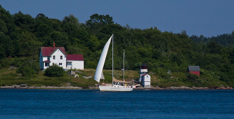 Squirrel Point Lighthouse, sailboat