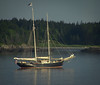 two masted sailboat anchored at sunset, Totman Cove Phippsburg Maine