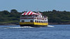 Island Romance, Casco Bay Lines ferry in Casco Bay with colorful red and white awning