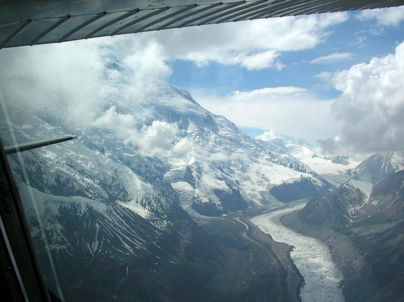 Flying up one of the side glaciers.