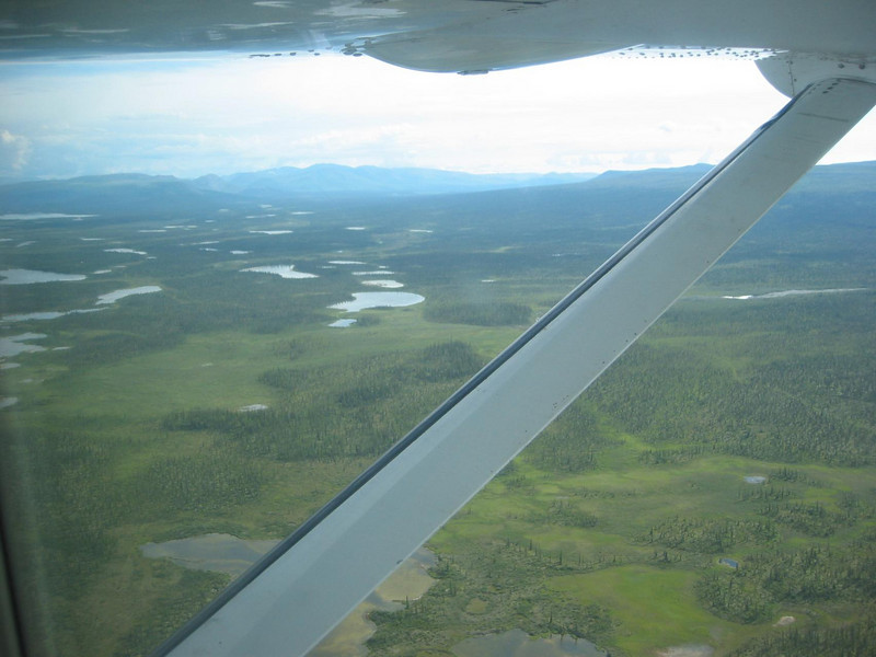 Airborne view of the landscape south of the Brooks Range