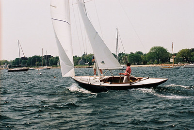 Warren sails his Concordia-renovated Shields class sloop, HERON, out of Padanaram on her 1st sail. May  2007