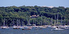 Many anchored boats in Oyster Bay Harbor.