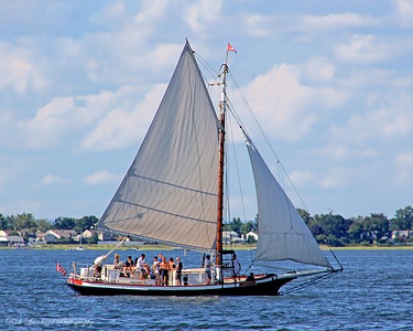 The Christeen Oyster Boat under sail in Oyster Bay Harbor.