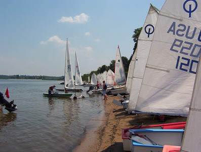 Boats parked on the beach during lunch at Conquest, Junior Regatta while we were still using Conquest Beach as our club site.