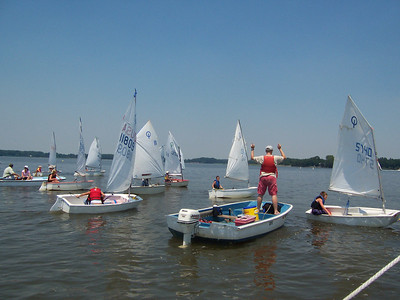 "2005 Junior Regatta.  Chris Karmosky gives instructions to Green fleet.  ""Go that way."""