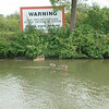 "Warning- Every once in a while along the canal you see a sign that says ""WARNING, DO NOT DREDGE OR ANCHOR, PIPELINE CROSSING"". And every once in a while you also find a log floating down the canal just under the surface of the water, a log that will damage your propeller or rudder if you don't see it and run right over it. This WARNING sign came with its very own log, and a row of ducks that made the presence of the log obvious, and the Warning sign even more relevant."