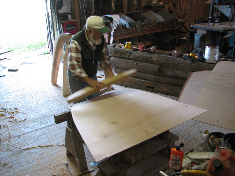 The plans call for a long shallow lead keel.  For canal boat purposes without a large rigging, the lead keel will not be needed. We have considered installing a small fold-down mast that will carry a square sail for down-wind sailing only.<br /> <br /> Lynn cuts pieces of white oak to build the frame for section # 6.