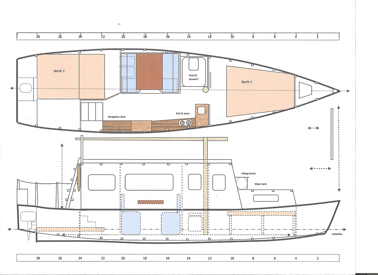 So what might the inside look like?  Here is one concept.  This allows two couples to each have their own cabin, sleeping with legs under the fore and aft decks, and only enough room for standing to dress.  This plan shows a salon with a small kitchen on the starboard side, and a booth for sitting four and a small head on the port side.  The driver stands (or sits on a stool) and looks over the cabin to steer a course.<br /> <br /> We decided not to add the fold-down mast diagrammed here.  We will use a patio umbrella for sun and rain protection over the back deck.  It can quickly fold open or shut, should withstand light winds, and can easily be stowed inside as needed.