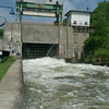 Lock 17- Lock 17 a Little Falls NY is one of the highest locks in the world with a 40.5 foot lift, and unusual in that the downstream gate lifts straight up instead of swinging inward. It is also unusual in that the lock keeper wants you to wait a long way downstream from the gate, and you can see in this photo why he does. When they begin emptying the 8 million gallons through the channels in the bottom of the lock it all comes out below the gate in a mighty gush!