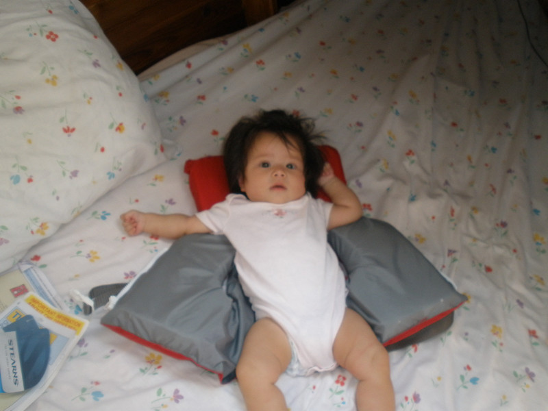 Four month old Ellen napped much of the way.  Yes, she wears an infant life vest.  (photo by Brian)
